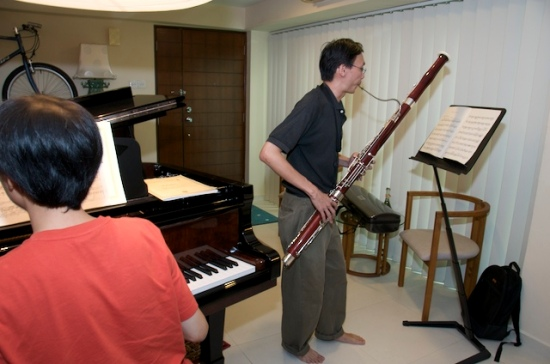 Jon on the bassoon, Seng Kiat on the piano